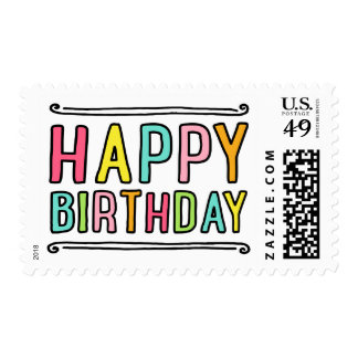 Happy birthday fun colorful postage stamp