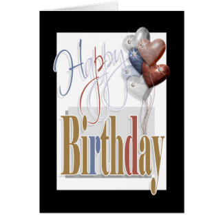 """Happy birthday"" fun diamond balloons unisex Card"
