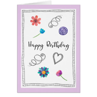 Happy Birthday Fun Flowers Swirlies Heart Greeting Card