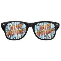 HAPPY BIRTHDAY Fun Modern Comic Book Blue Retro Sunglasses