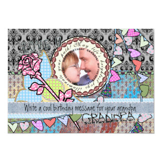 """Happy birthday fun rose and hearts template card 5"""" x 7"""" invitation card"""