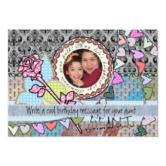 Happy birthday fun rose and hearts template card