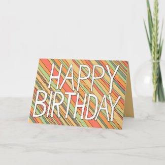 Happy Birthday Funky Stripes 5x7 card