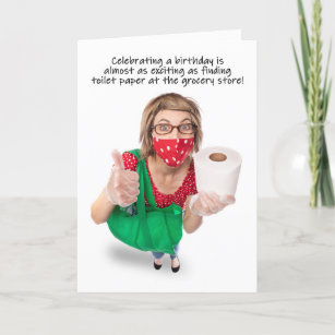 Happy Birthday Funny Toilet Paper Covid-19 Humor Holiday Card