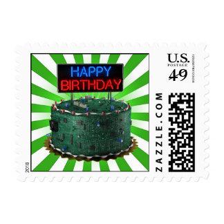 Happy Birthday Geek Postage Stamps