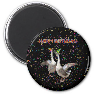Happy Birthday Geese 2 Inch Round Magnet