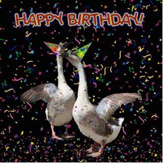 Happy Birthday Geese Statuette