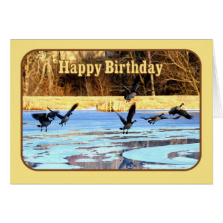 Happy Birthday Geese Take Off From A Frozen Pond Card