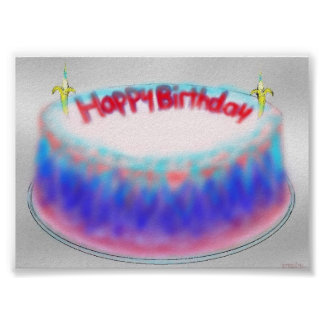 Happy birthday gelatin mountain cake print