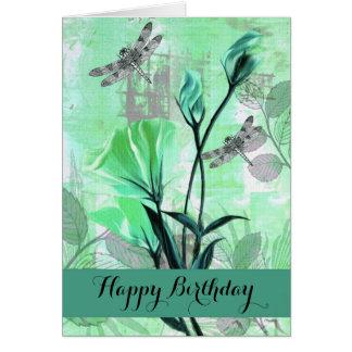 Happy Birthday - General - Dragonflies / Rose Stem Card