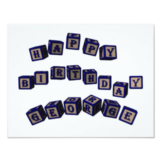 Happy Birthday George toy blocks in blue. Card