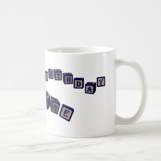 Happy Birthday George toy blocks in blue. Coffee Mug