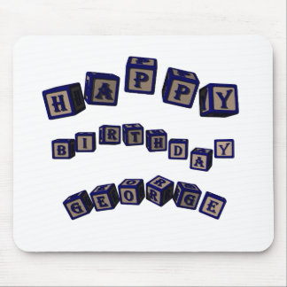 Happy Birthday George toy blocks in blue. Mouse Pad