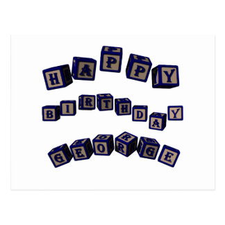 Happy Birthday George toy blocks in blue. Postcard