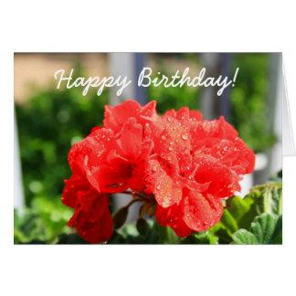 Happy Birthday Geranium Greeting Card