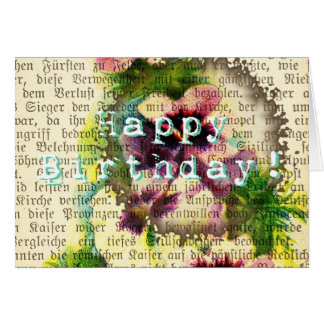 Happy Birthday German Script Pansy Coffee Stain Card