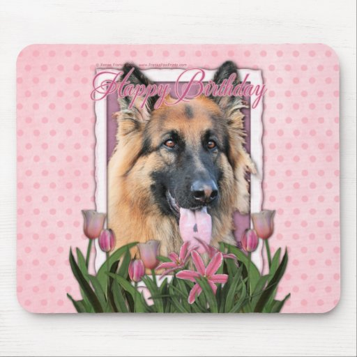 Happy Birthday - German Shepherd - Long Haired Mouse Pad