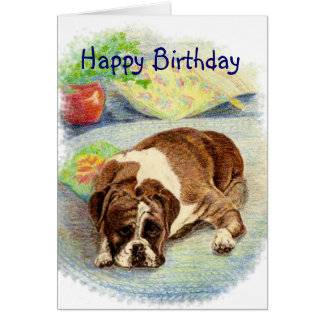 Happy Birthday Get Excited Humor Boxer Dog Card