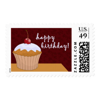 happy birthday : giant cupcake : postage