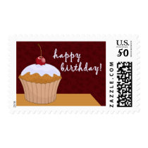 happy birthday : giant cupcake : postage