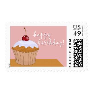 happy birthday : giant cupcake : postage stamp
