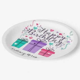 Happy Birthday Gift Boxes on White Customize 9 Inch Paper Plate