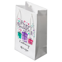 Happy Birthday Gift Boxes on White Customize Small Gift Bag