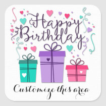 Happy Birthday Gift Boxes on White Customize Square Sticker