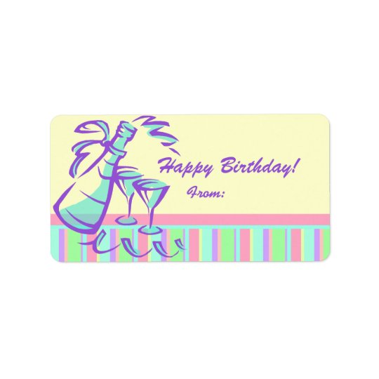 Happy Birthday Gift Labels Champagne Toast
