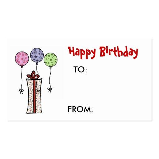 Happy Birthday, Gift tag Business Card | Zazzle