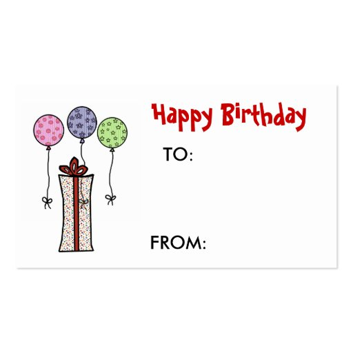 Birthday Gift Tag Template Happy Birthday Gift Tag