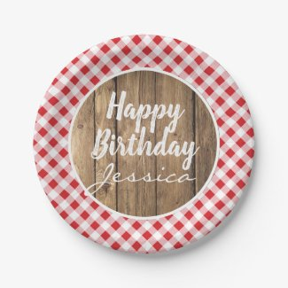 Happy Birthday Gingham Rustic Wood Picnic Party Paper Plate