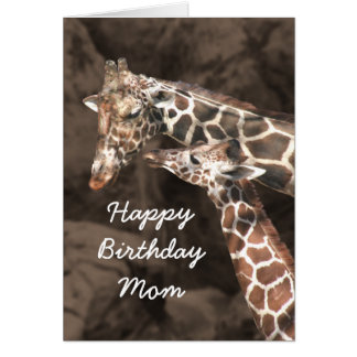 Happy Birthday Giraffe Mom and Baby Customize Card