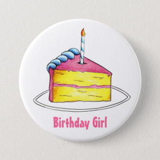 Happy Birthday Girl Cake Slice w/ Candle Button