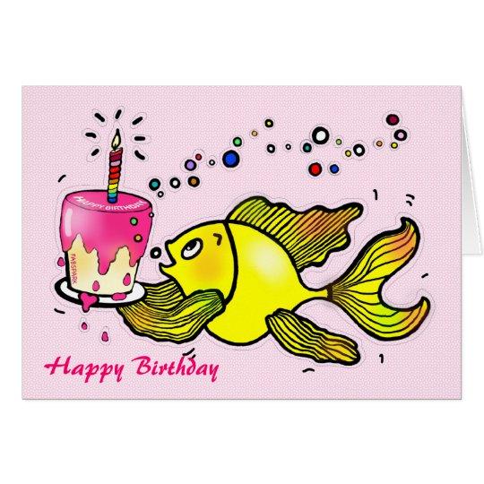 Happy birthday girl fish funny cute cartoon card zazzle happy birthday girl fish funny cute cartoon card bookmarktalkfo Gallery