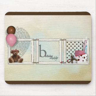 Happy birthday girl teddy mouse pad