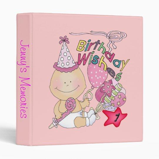 Happy Birthday Girl wishes 1 Year Old 3 Ring Binder