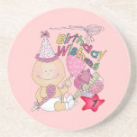 Happy Birthday Girl wishes 1 Year Old Beverage Coaster