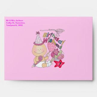 Happy Birthday Girl wishes 1 Year Old Envelope