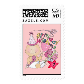 Happy Birthday Girl wishes 1 Year Old Postage