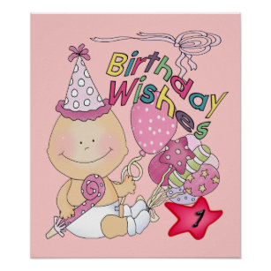 Happy Birthday Girl Wishes 1 Year Old Poster