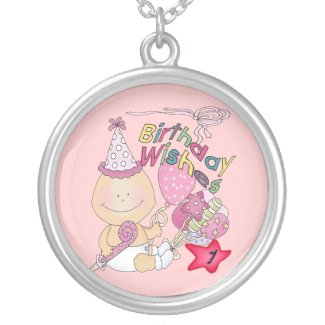 Happy Birthday Girl wishes 1 Year Old Silver Plated Necklace