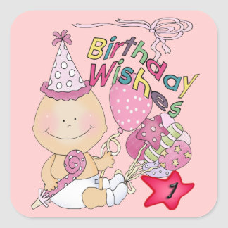 Happy Birthday Girl wishes 1 Year Old Square Sticker