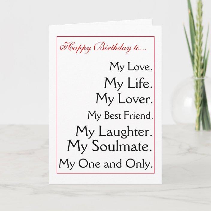 Awe Inspiring Happy Birthday Girlfriend Boyfriend Wife Husband Card Zazzle Com Personalised Birthday Cards Paralily Jamesorg