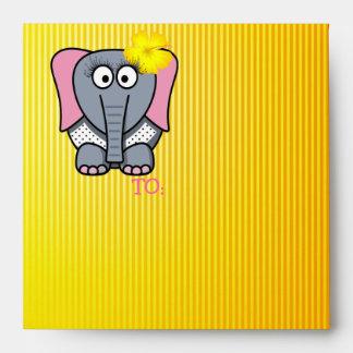 Happy Birthday Girly Elephant Envelope