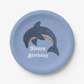 Happy Birthday Glitter Blue Fun Dolphin Paper Plate