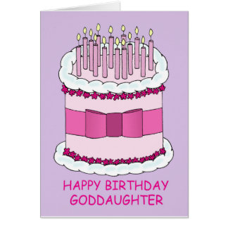 Happy Birthday Goddaughter, pink cake. Card