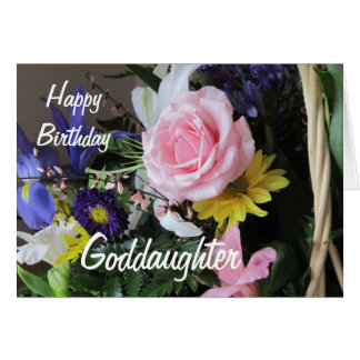 Happy Birthday Goddaughter-Pink Rose Bouquet Card
