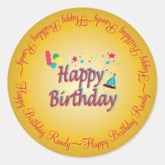 Happy Birthday Gold  Custom Classic Round Sticker