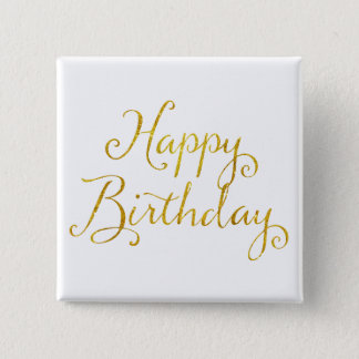 Happy Birthday Gold Faux Glitter Metallic Sequins Button